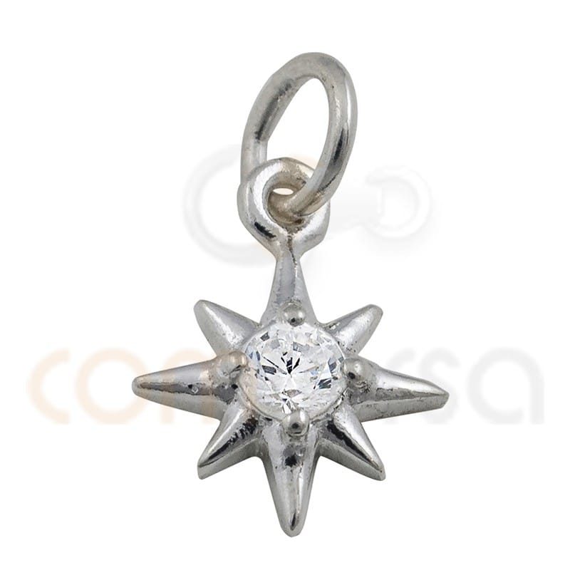 5 Sterling Silver Star Charms 8 mm étoile plate Pendentifs