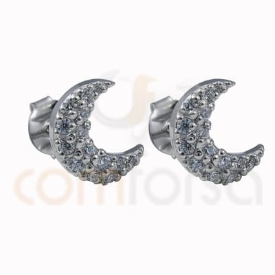 Moon earrings with zircons 10 mm sterling silver 925