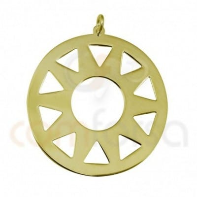 Engraving sun pendant sterling silver gold plated