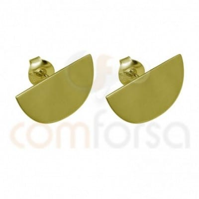 Medium circle earring 20 x 10 mm sterling silver gold plated