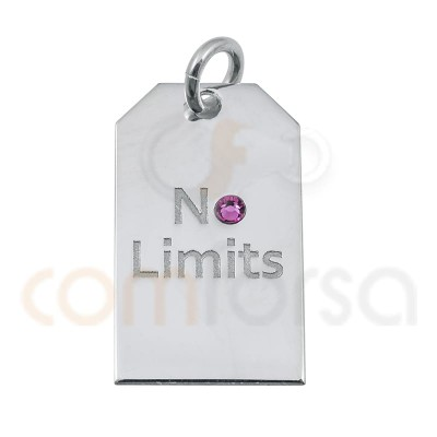 NO LIMITS label pendant 10x18mm sterling silver 925