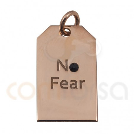 NO FEAR label pendant 10x18mm sterling silver 925