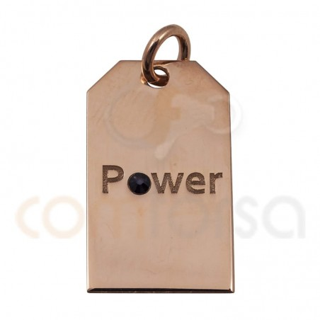 POWER label pendant 10x18mm sterling silver 925